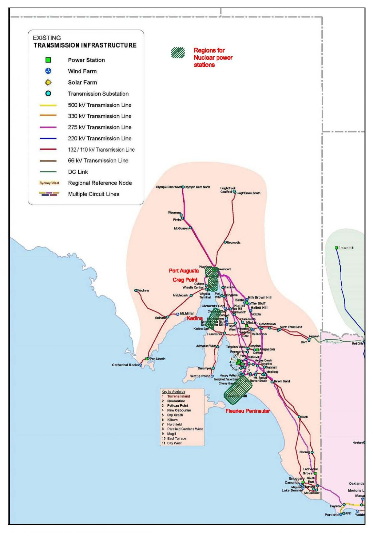 South Australian regions of interest for nuclear power stations