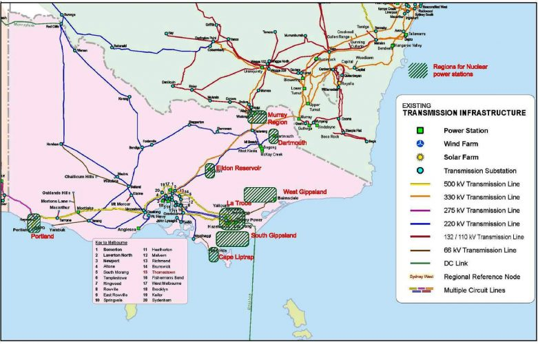 Victorian regions for nuclear power plants